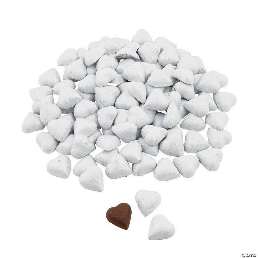 White Foil-Wrapped Milk Chocolate Hearts