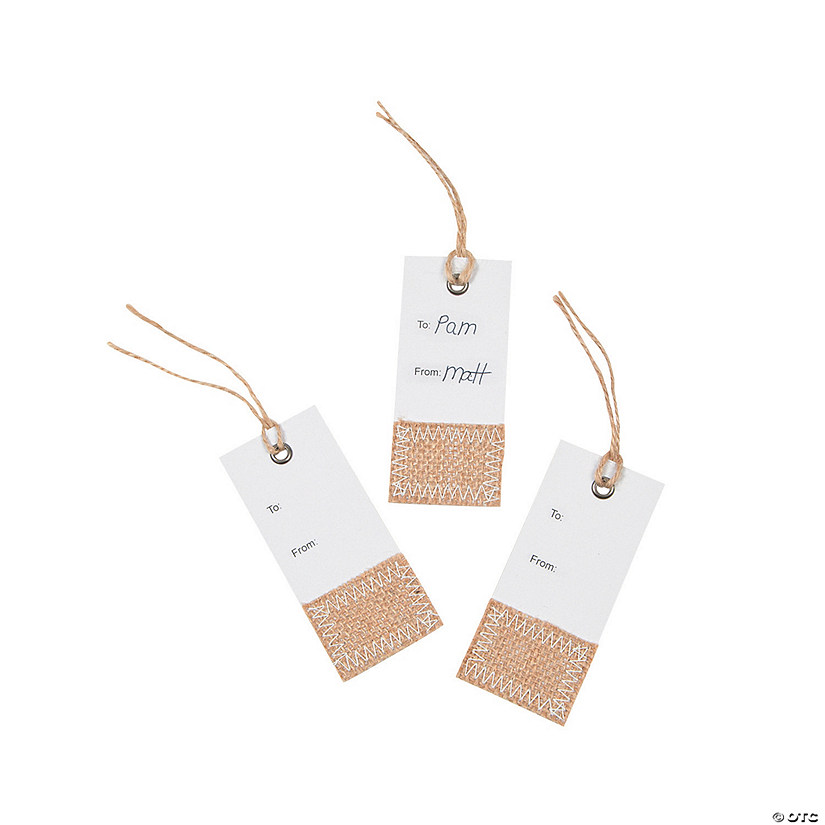White Gift Tags with Burlap Accent