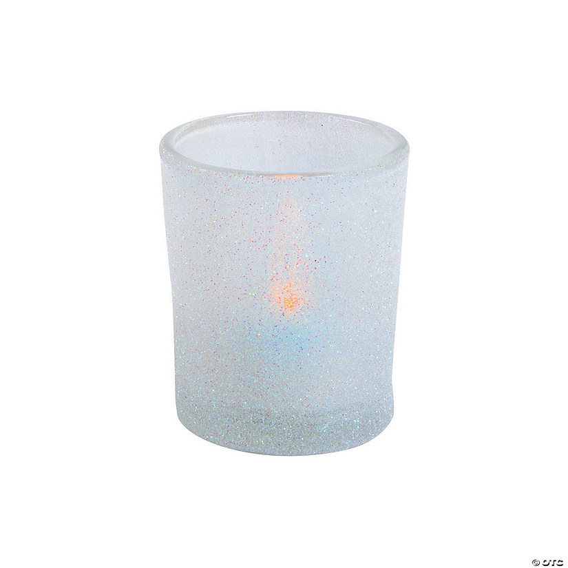 White Glitter Votive Candle Holders