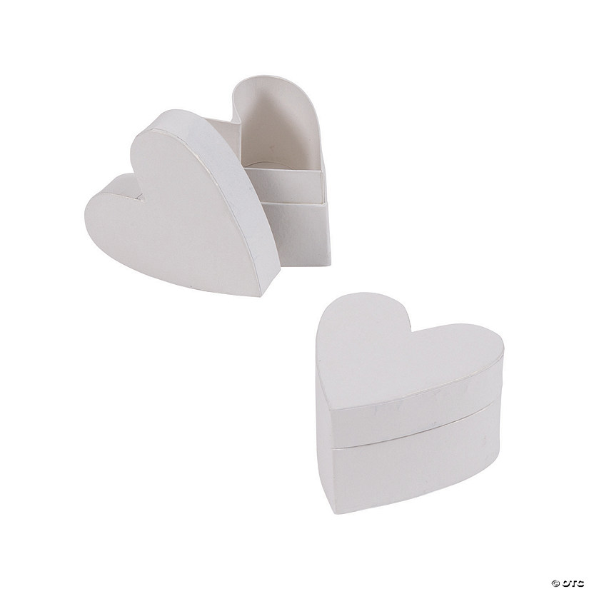 White Heart-Shaped Favor Boxes