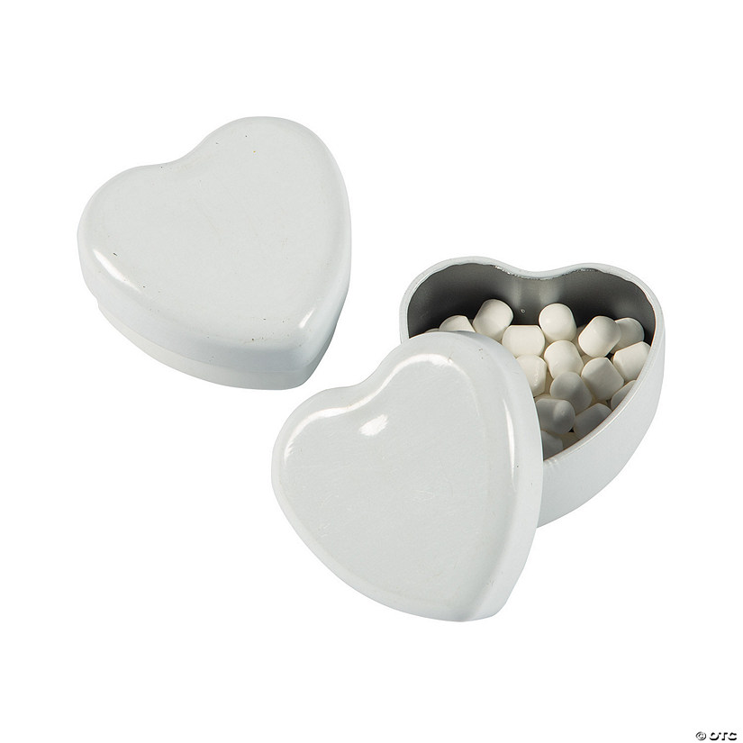 White Heart-Shaped Tins with Mints