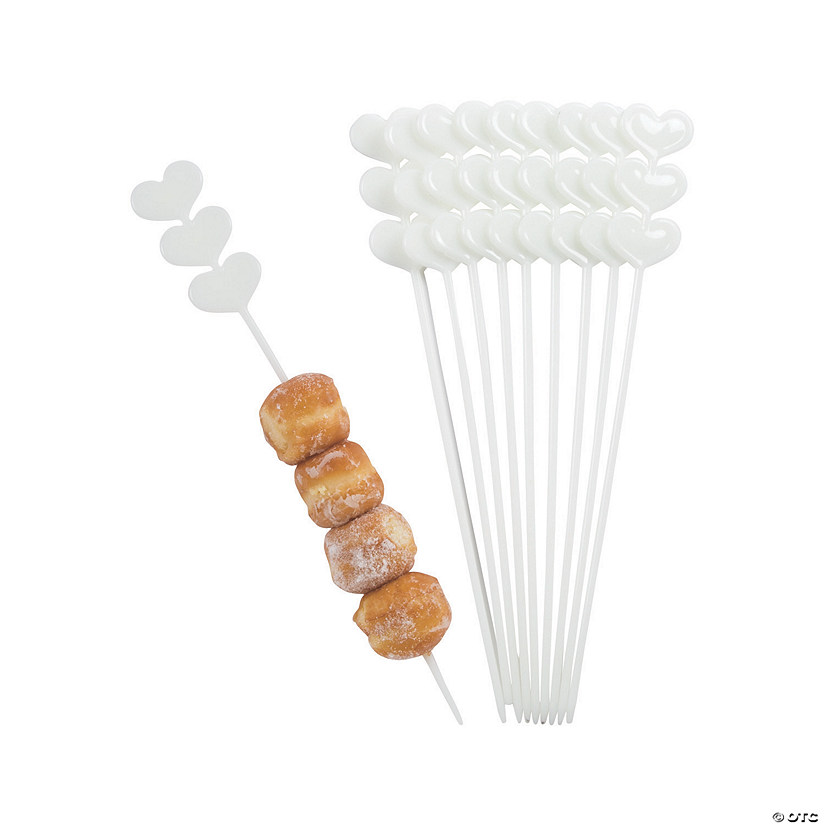 White Heart Skewer Sticks