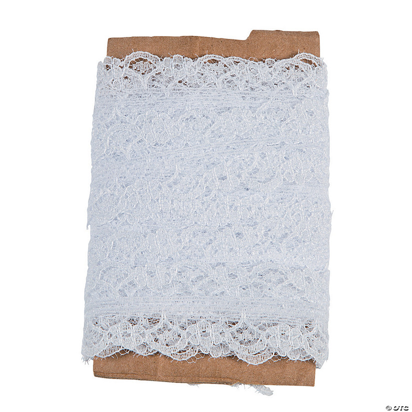 White Lace Ribbon with Floral Edge