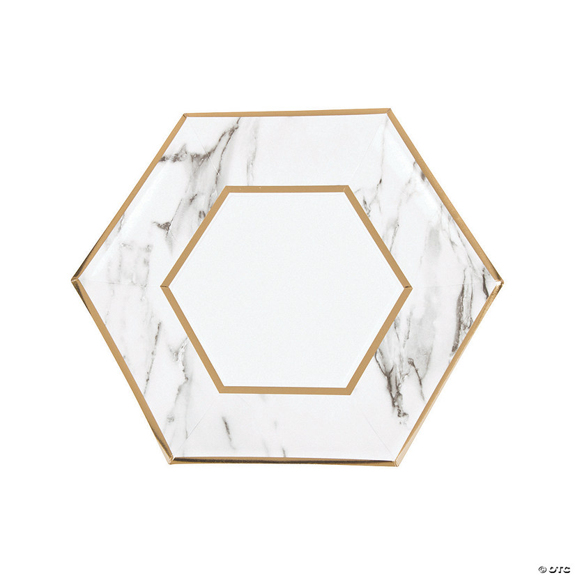 White Marble Dinner Paper Plates with Foil