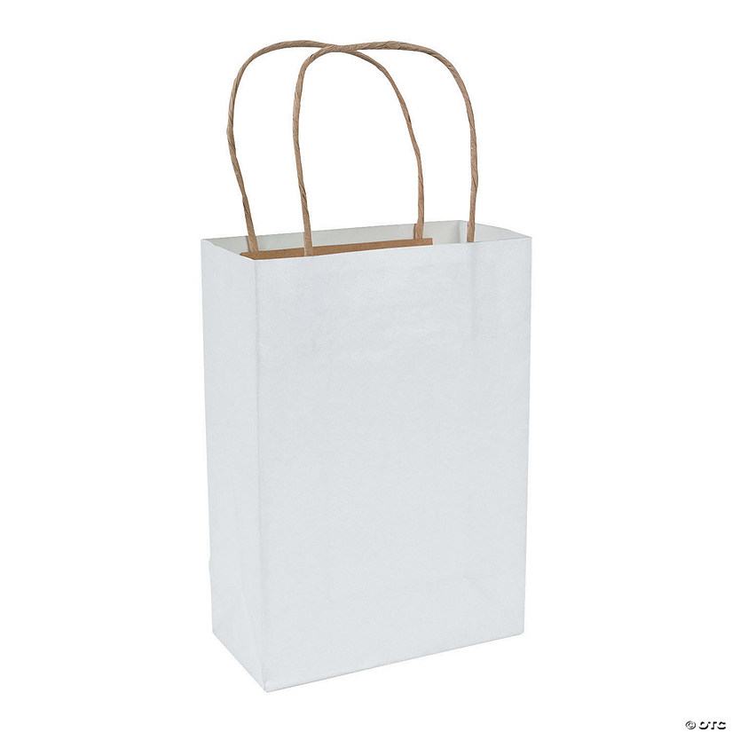 White Medium Kraft Paper Gift Bags - 36 Pc. Audio Thumbnail
