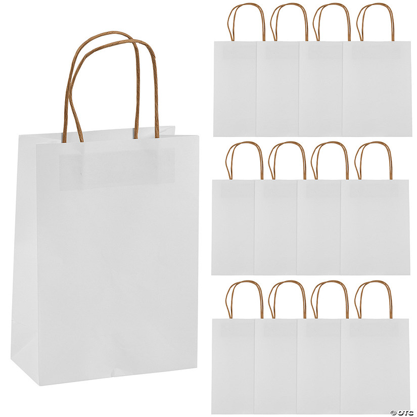 White Medium Kraft Paper Gift Bags Audio Thumbnail