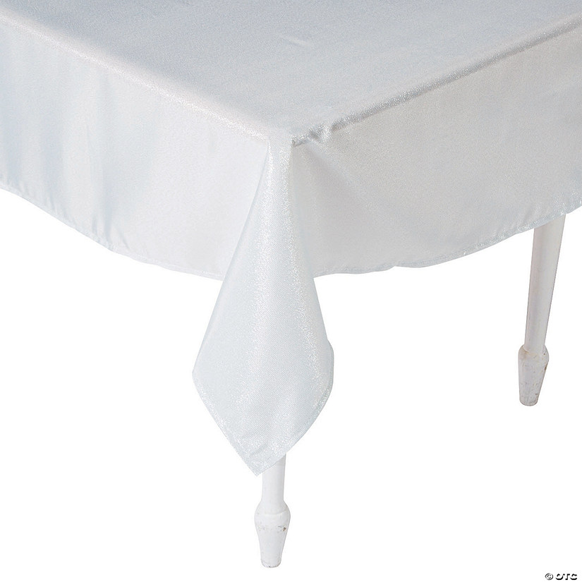 "White Metallic Polyester Tablecloth - 60"" x 104"""