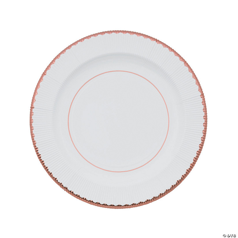 White Paper Dinner Plates with Rose Gold Trim - 8 Ct. Image Thumbnail
