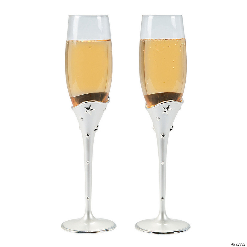 White Pearl Wedding Champagne Flutes
