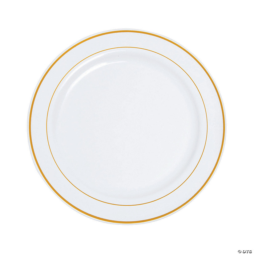 White Plastic Dinner Plates with Gold Edging - 75 Pc.