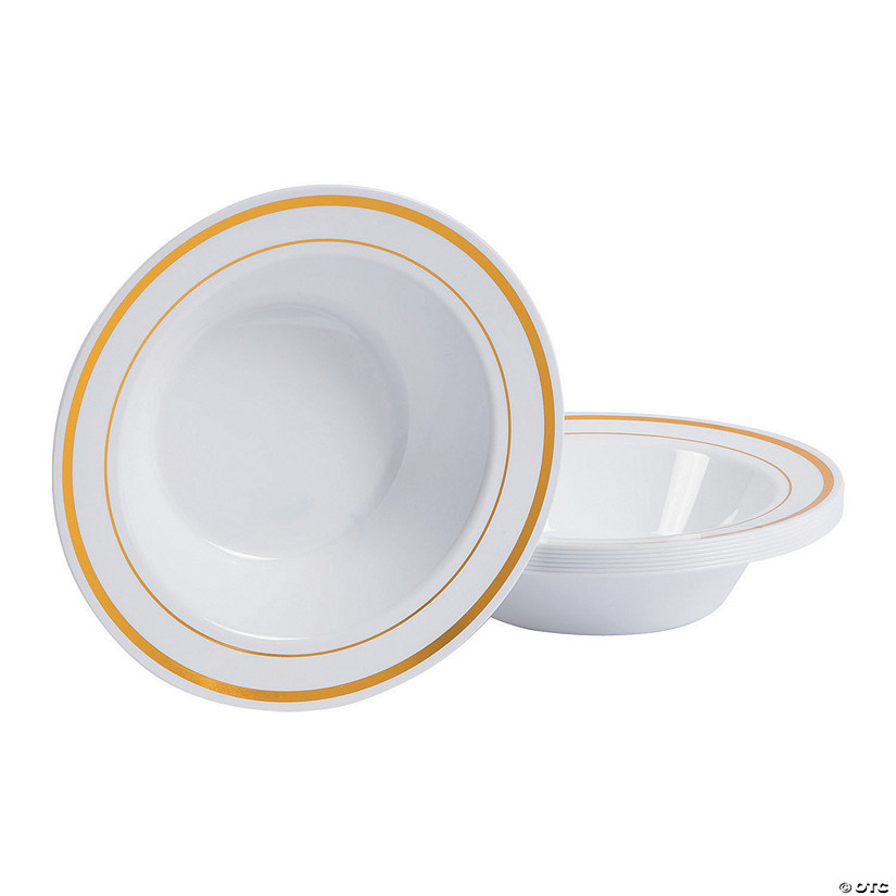 White Premium Plastic Bowls with Gold-Trim