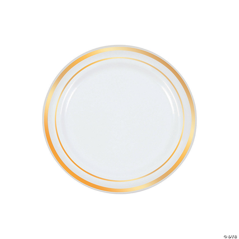 White Premium Plastic Dessert Plates with Gold Edging Audio Thumbnail