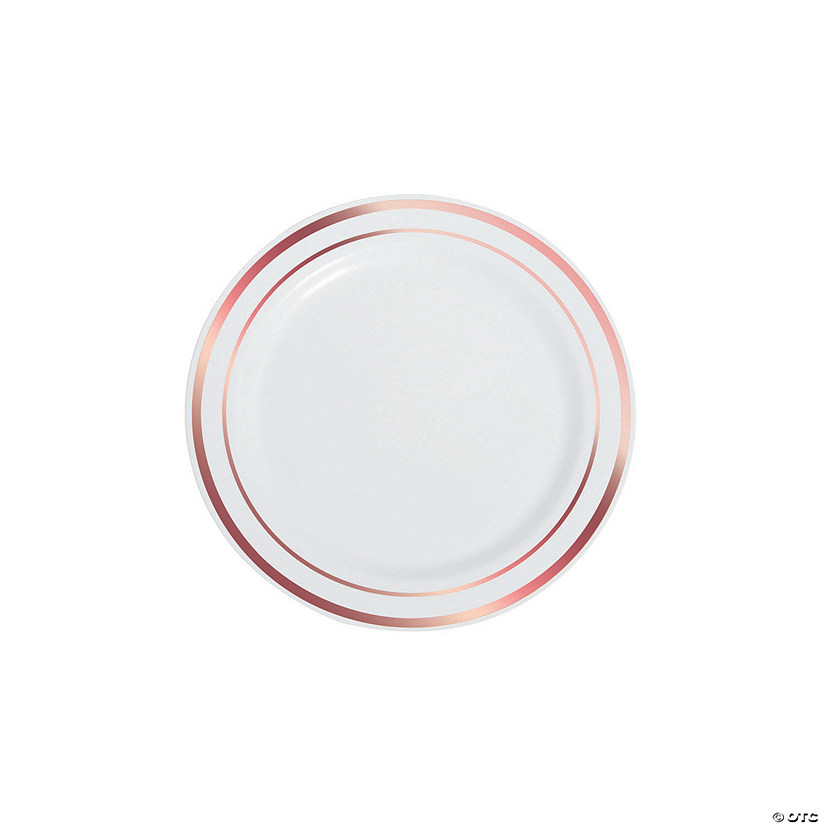 White Premium Plastic Dessert Plates with Rose Gold Edging Audio Thumbnail