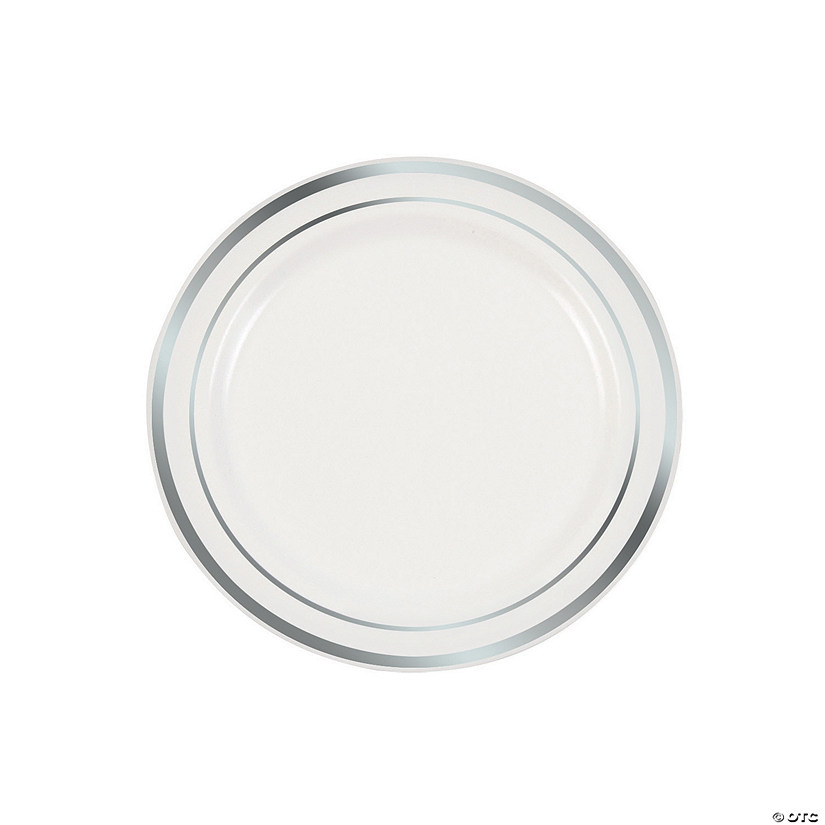 White Premium Plastic Dessert Plates with Silver Edging Audio Thumbnail
