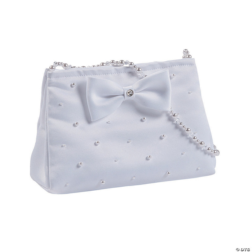 White Purse with Pearl Handle