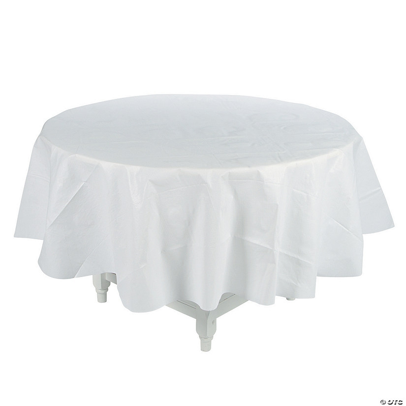 White Round Tablecloth with Flannel Back