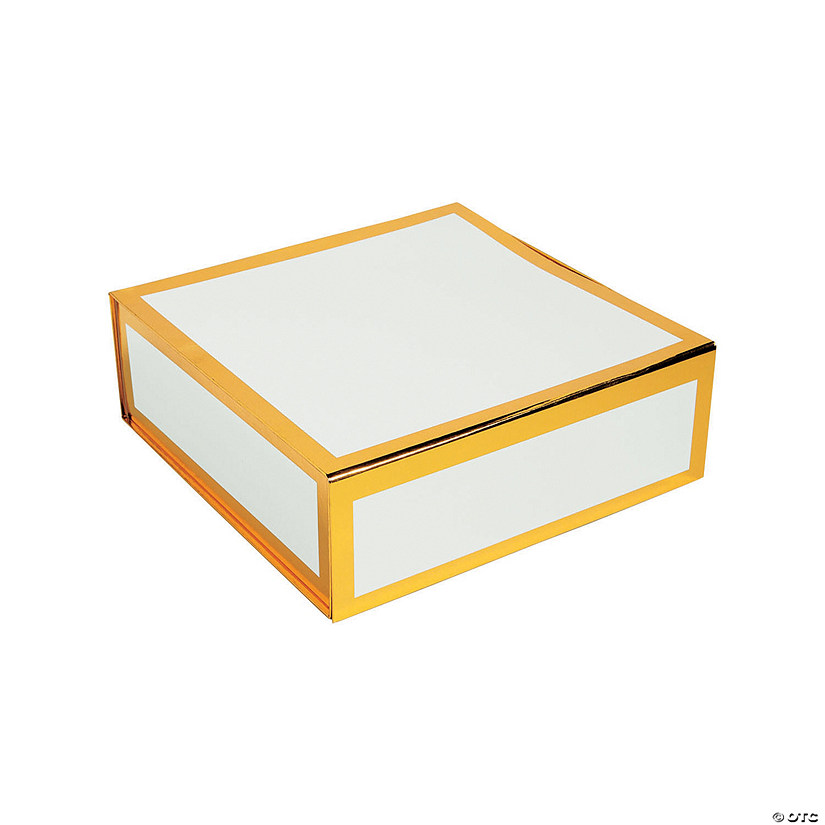 White Square Gift Box with Gold Foil Trim