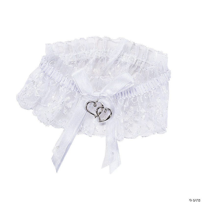 White Two Hearts Garter with Lace Trim