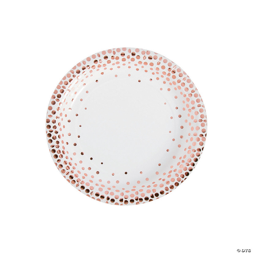 White with Rose Gold Foil Dots Paper Dessert Plates