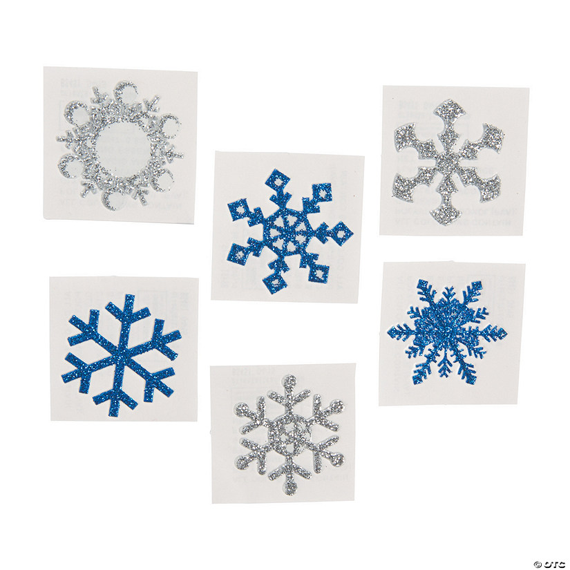 Winter Snowflake Glitter Tattoo Stickers Image Thumbnail