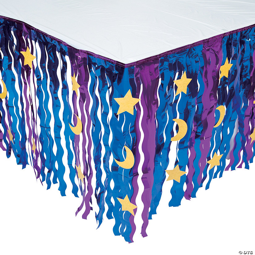 Wizard Metallic Fringe Plastic Table Skirt with Star & Moon Cutouts Audio Thumbnail