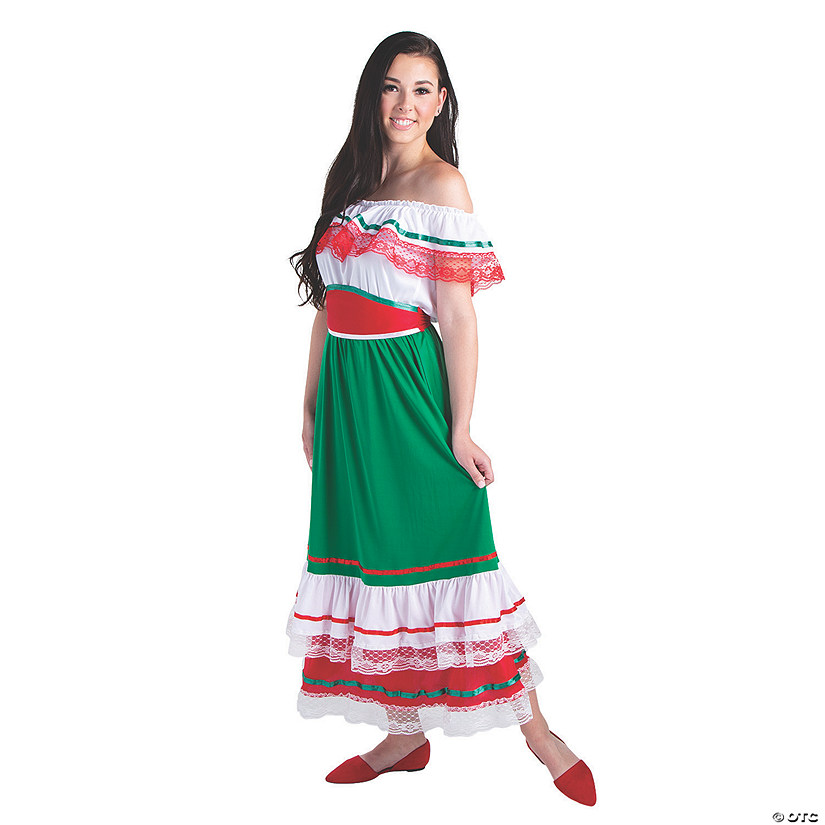 Women's Fiesta Ruffle Dress Costume - Extra Large Image Thumbnail