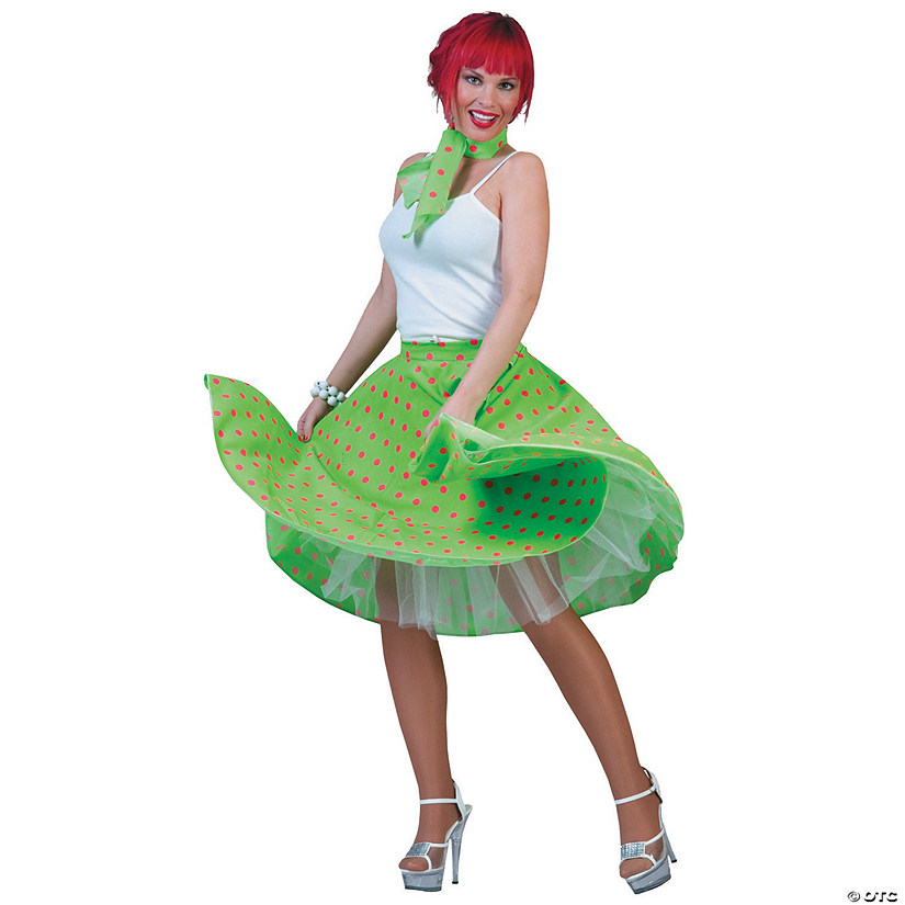 Women's Green & Pink Sock Hop Skirt Costume