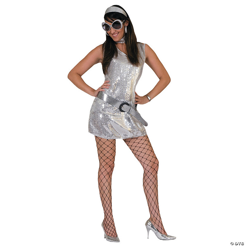 Women's Silver Disco Dress Costume