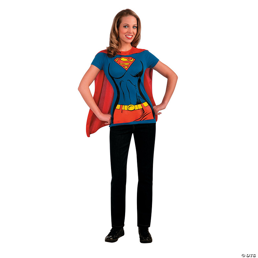 Women's Supergirl™ Shirt Costume with Cape Audio Thumbnail