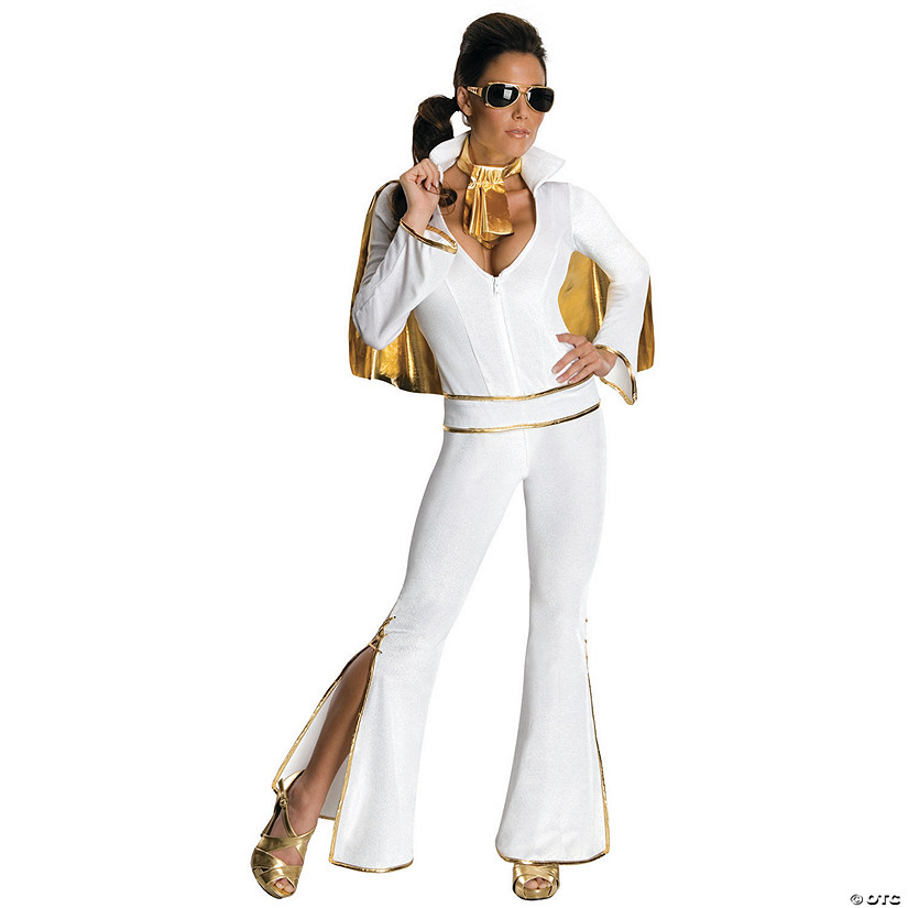 Women's White Jumpsuit Elvis Costume Audio Thumbnail
