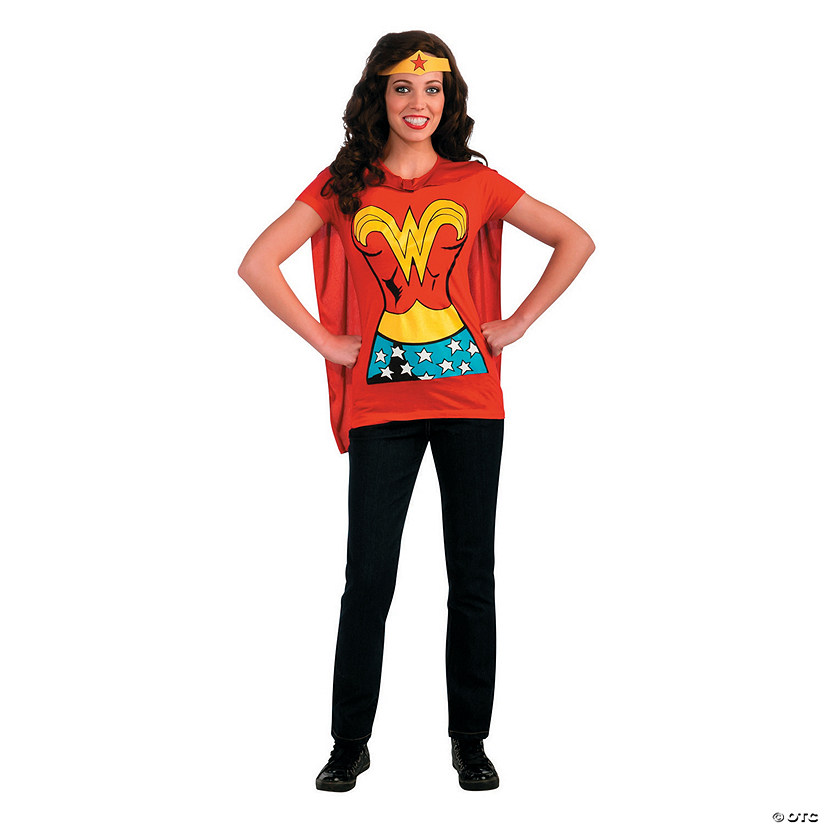 Women's Wonder Woman™ Shirt Costume with Cape