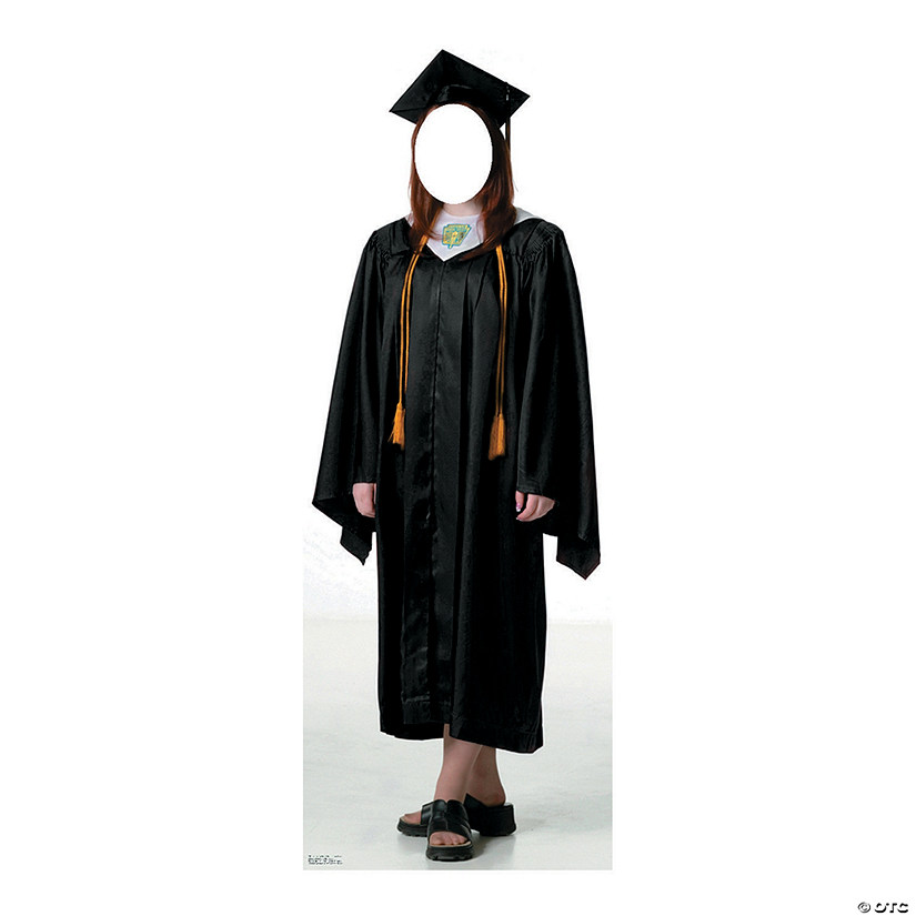 Women's Black Cap & Gown Graduate Cardboard Stand-In Stand-Up