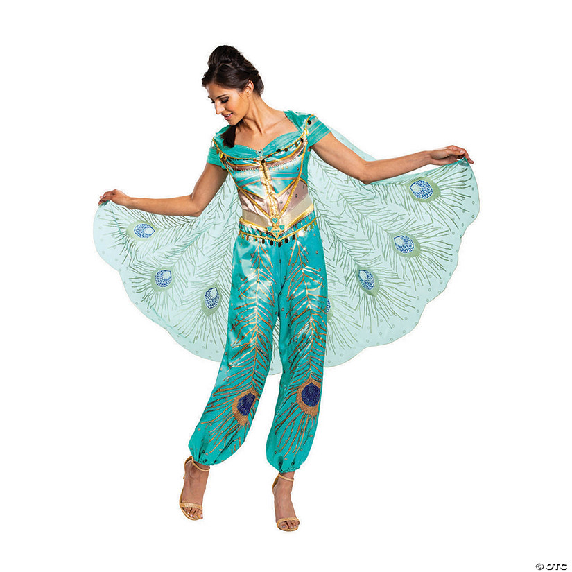Women's Deluxe Aladdin™ Live Action Teal Jasmine Costume Audio Thumbnail