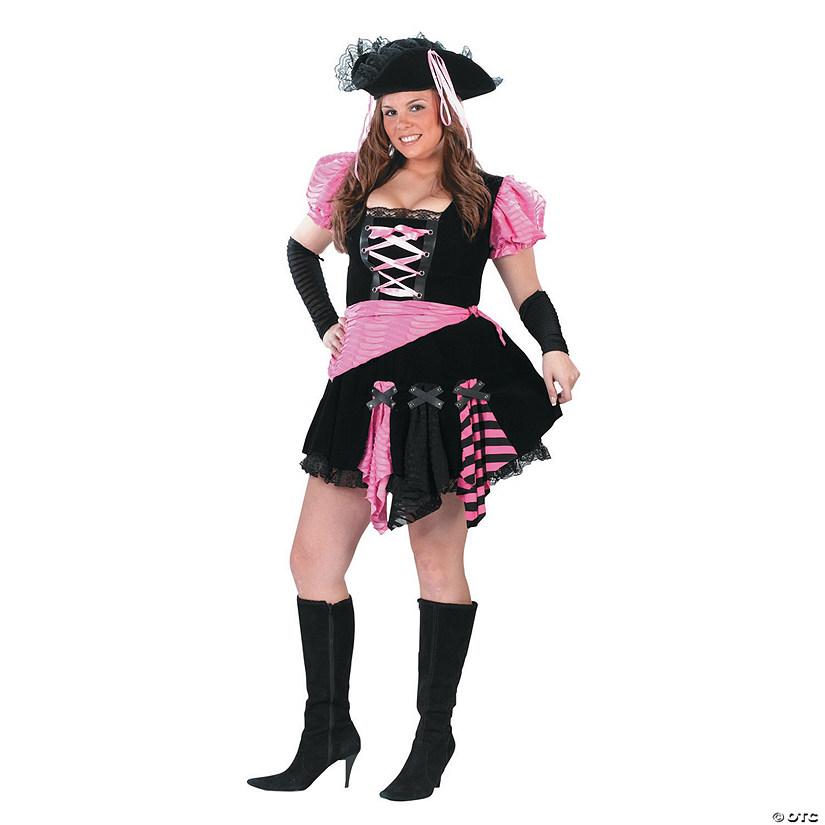 Women S Plus Size Pink Punk Pirate Costume Xxl