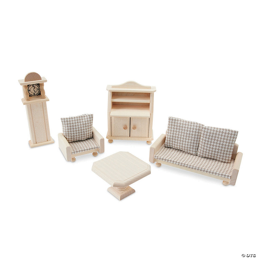 Wooden Dollhouse Living Room Furniture Set Image Thumbnail