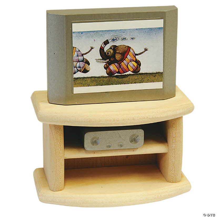 Wooden Dollhouse Television Set Image Thumbnail