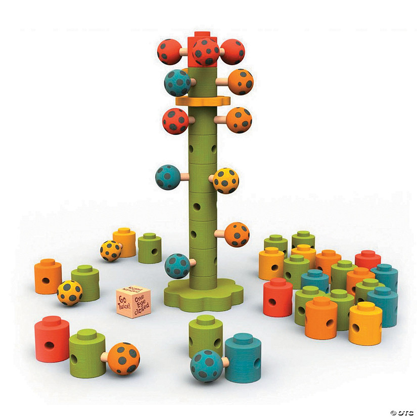 Wooden Ladybug Flower Tower Game
