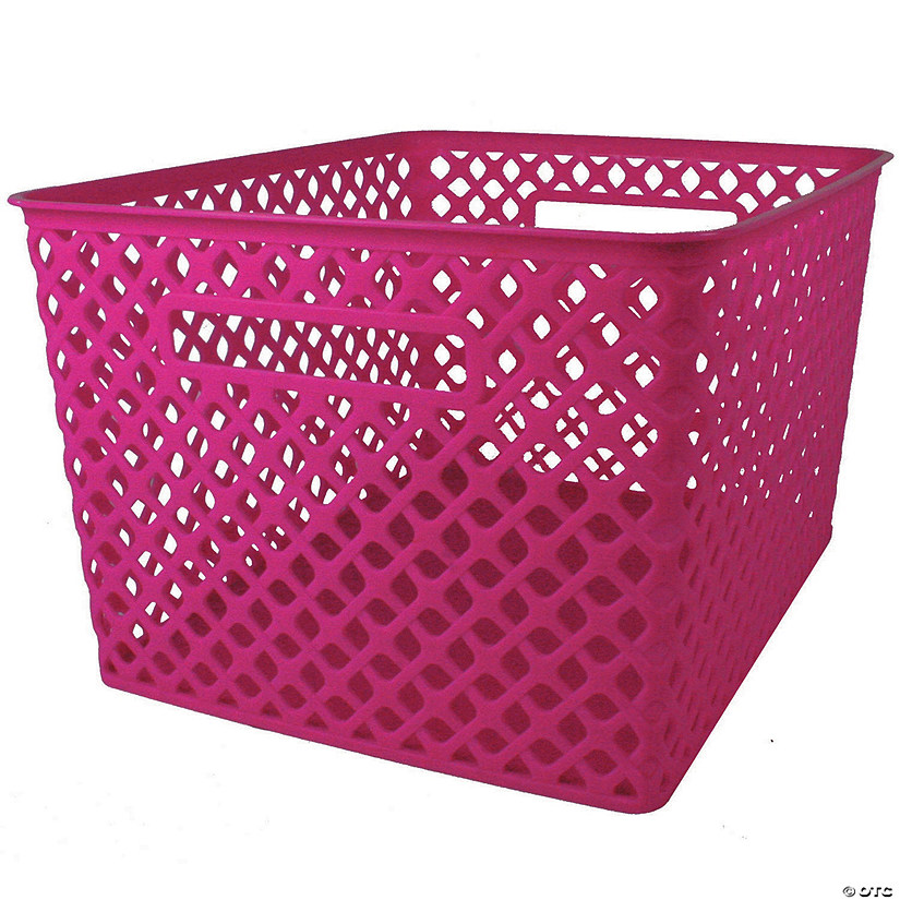 "Woven Basket, Large, Hot Pink, 14.5"" x 12"" x 8.5"", Set of 3 Audio Thumbnail"