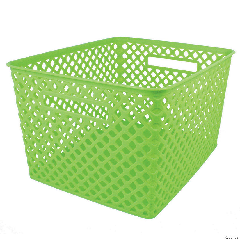 "Woven Basket, Large, Lime, 14.5"" x 12"" x 8.5"", Set of 3 Audio Thumbnail"