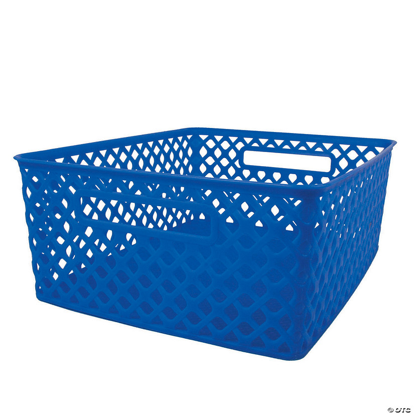 "Woven Basket, Medium, Blue, 14"" x 11.25"" x 5.25"", Set of 3 Audio Thumbnail"