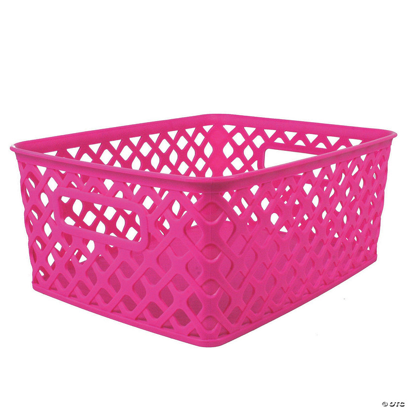 Woven Basket Small Hot Pink 10 X 7