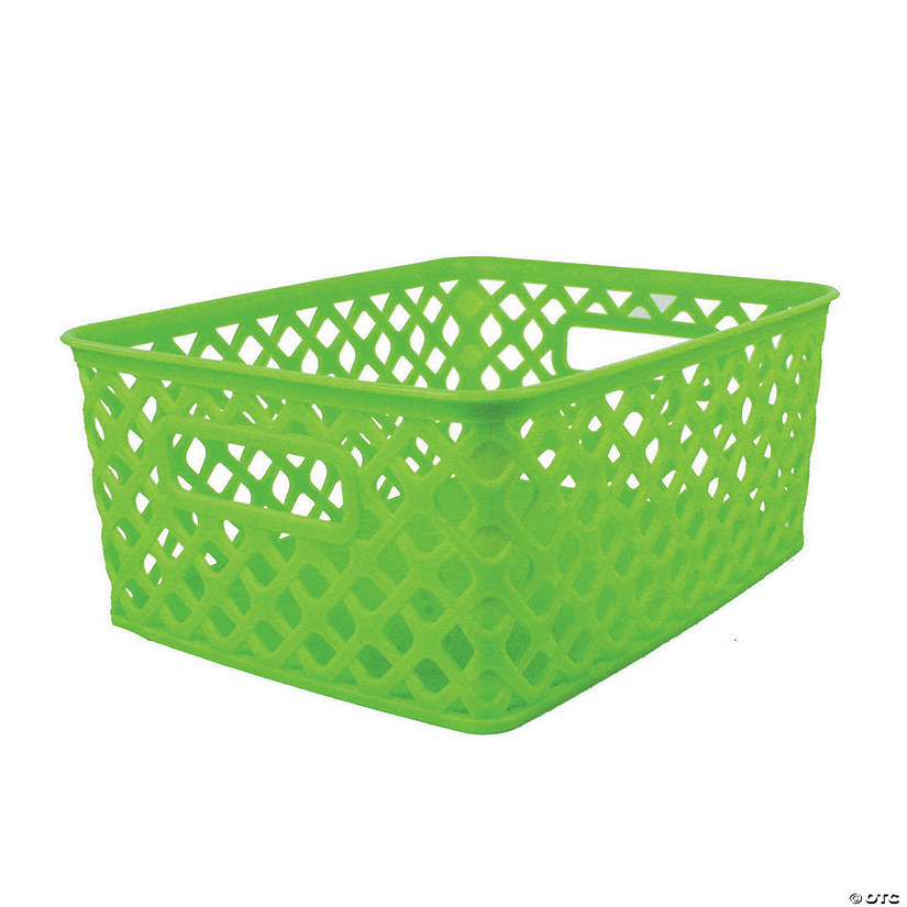 "Woven Basket, Small, Lime, 10"" x 7.75"" x 4.25"", Set of 3 Audio Thumbnail"
