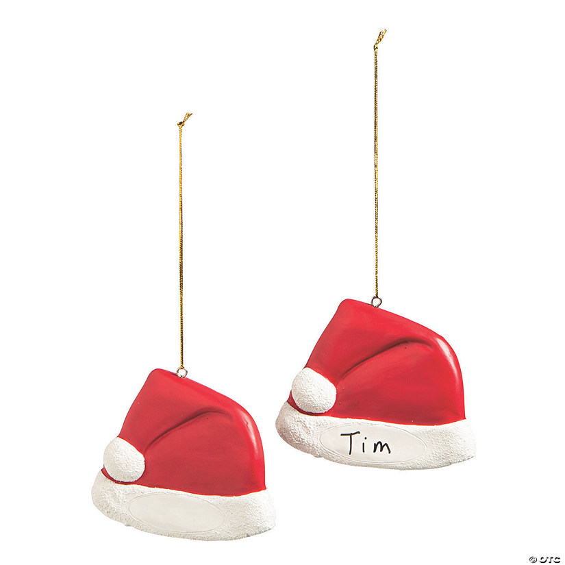 Write-A-Name Santa Hat Ornaments Image Thumbnail