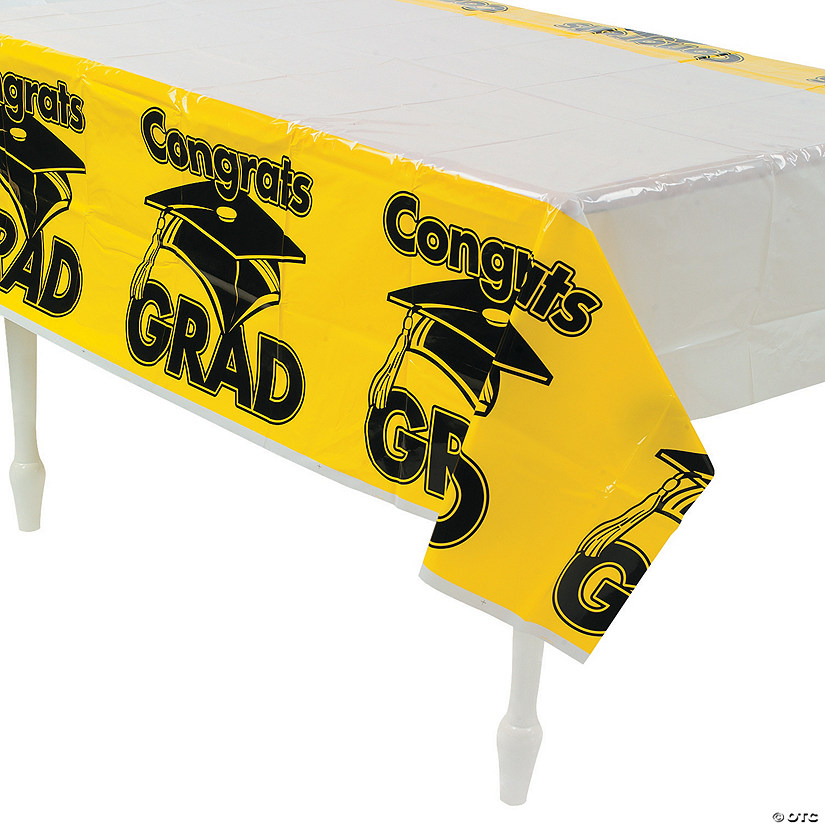 Yellow Congrats Grad Plastic Tablecloth Audio Thumbnail