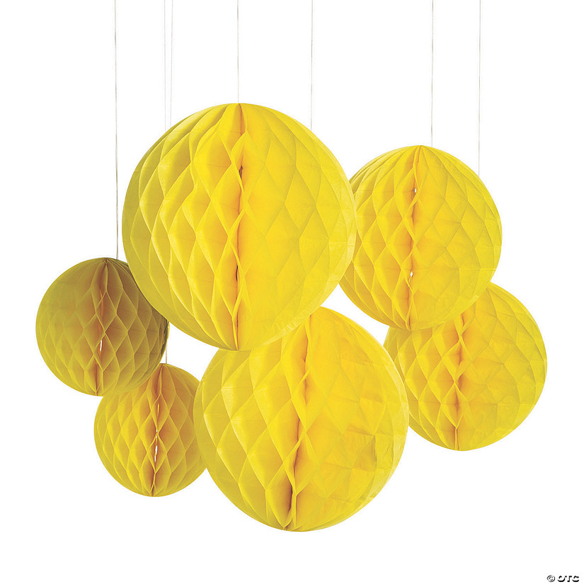 Yellow Hanging Honeycomb Decorations Image Thumbnail