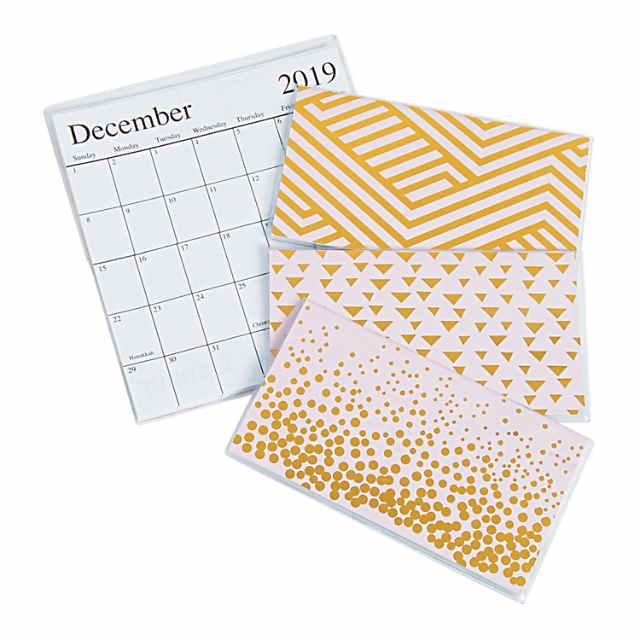Pocket Calendar.2019 2020 Pink Gold Pocket Calendars