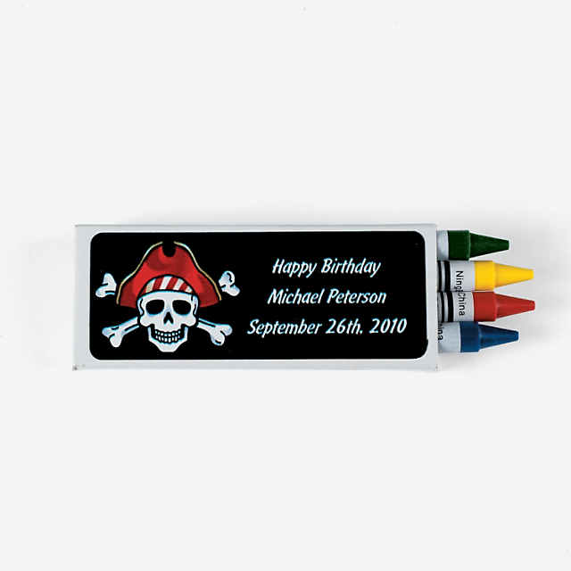 4 Color Personalized Pirate Crayons 24 Boxes Discontinued