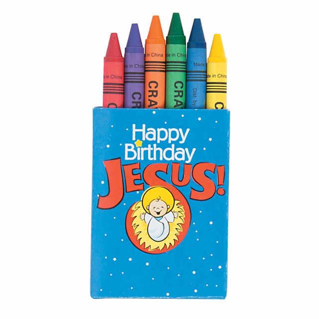 6 Color Happy Birthday Jesus Crayons 48 Boxes
