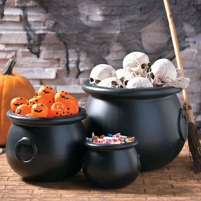 Black Cauldrons Halloween Decorations