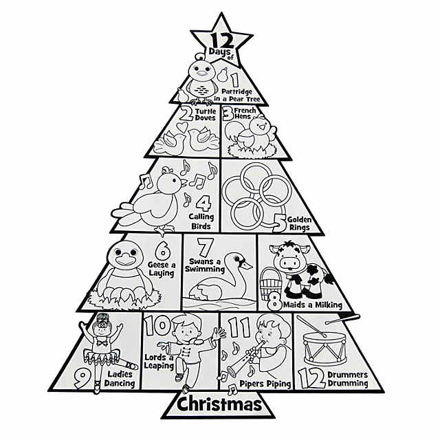 12 Days Of Christmas.Color Your Own 12 Days Of Christmas Posters